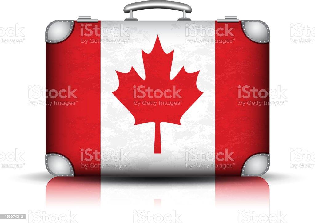 Canadian suitcase EPS10. Opacity and Transparency (Multiply and Screen) used. Bag stock vector
