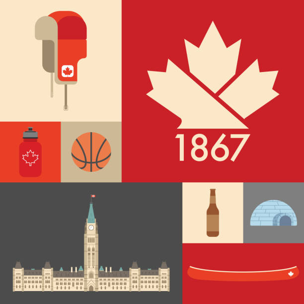 Canadian Symbolic Grid A grid of classic Canadian icons. maple leaf stock illustrations
