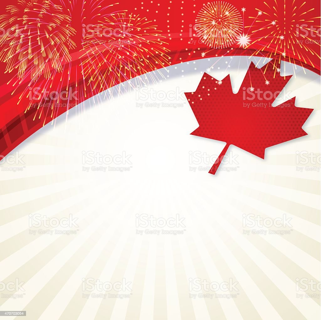 Canadian themed background with fireworks and a maple leaf vector art illustration