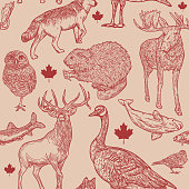 Super Canadian wildlife seamless pattern! Full of animals that are symbolic to Canada. Global colours, easy to edit, a great seamless tile for fabric, backgrounds, whatever!