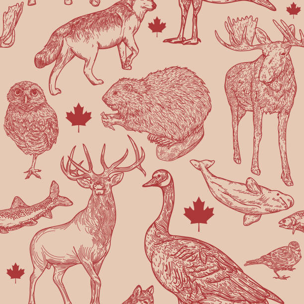 Canadiana Wildlife Seamless Pattern vector art illustration