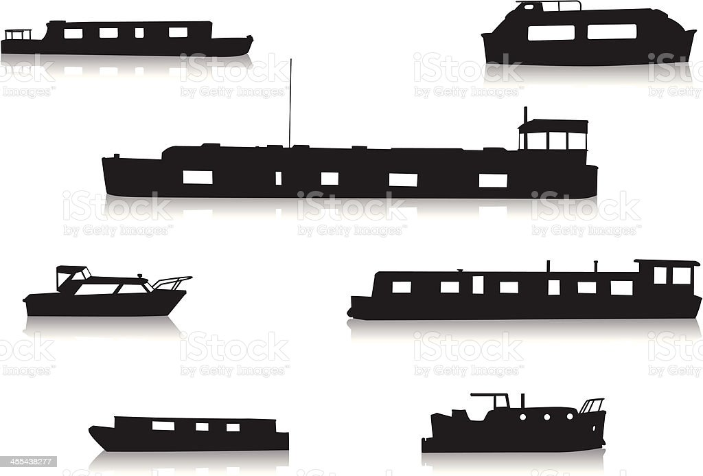 Canal boat silhouettes royalty-free canal boat silhouettes stock vector art & more images of back lit