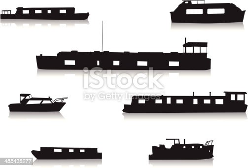 A vector set of silhouetted canal boats