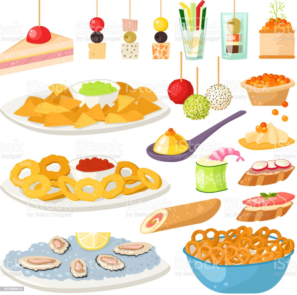 Canape snacks appetizer vector set stock vector art for Canape vector download