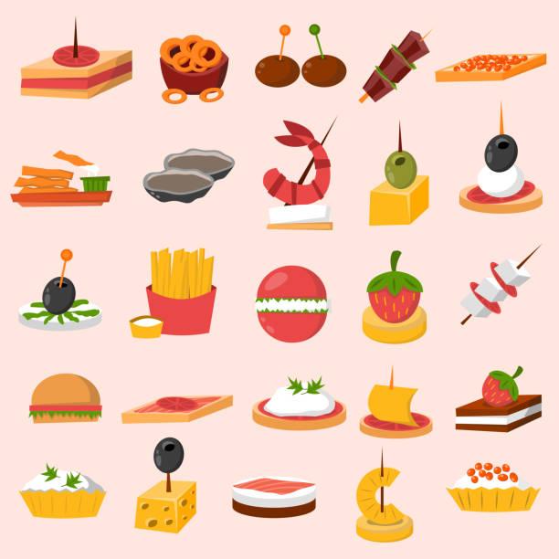 illustrations, cliparts, dessins animés et icônes de canape snacks appetizer vector set. - entrée