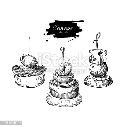 istock Canape vector drawings. Food appetizer and snack sketch. Finer food for buffet, restaurant, catering service. 1061245224