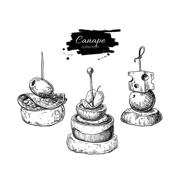 illustrations, cliparts, dessins animés et icônes de dessins vectoriels de cardonnel. nourriture des croquis apéritif et snack. aliments plus fine pour buffet, restaurant, service traiteur. - entrée