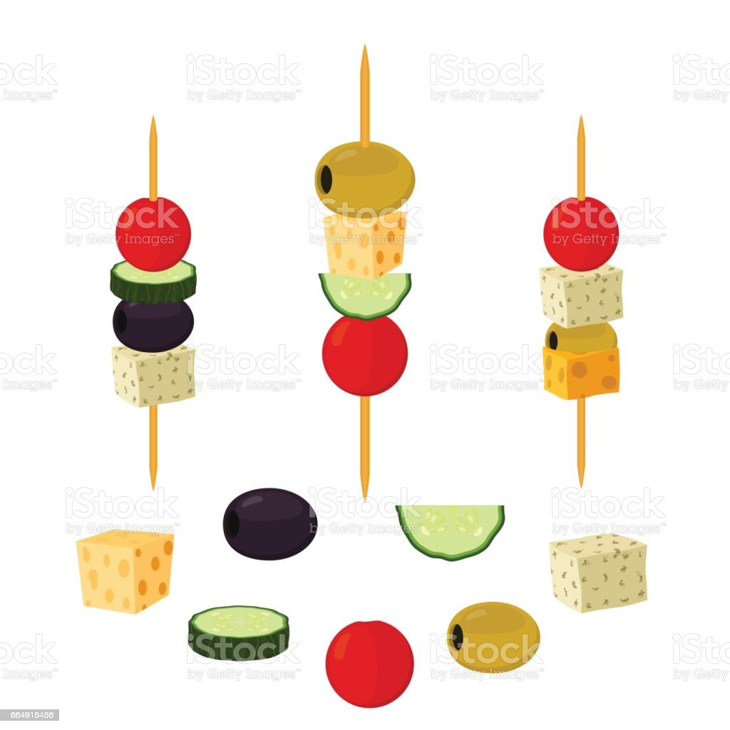 Canapes, tapas in cartoon flat style. Buffet, restaurant food, appetizer, snack. canapes tapas in cartoon flat style buffet restaurant food appetizer snack - immagini vettoriali stock e altre immagini di antipasto royalty-free