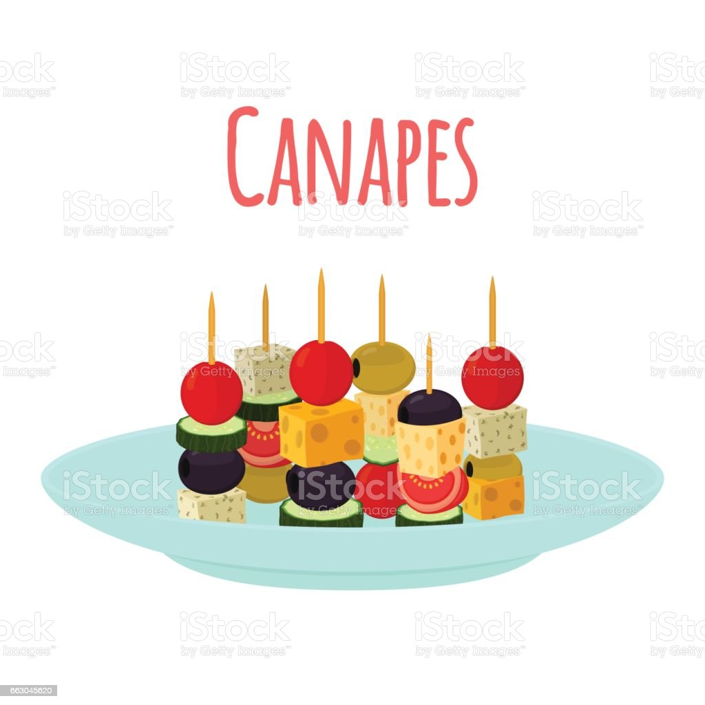 Canapes, tapas on plate, dish. Cartoon flat style. vector art illustration