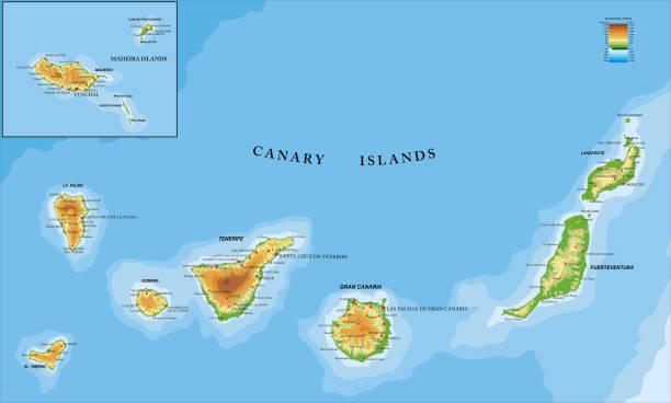 ilustrações de stock, clip art, desenhos animados e ícones de canary and madeira islands physical map - funchal madeira