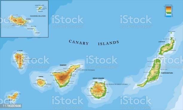 Canary And Madeira Islands Physical Map - Arte vetorial de stock e mais imagens de Arrecife