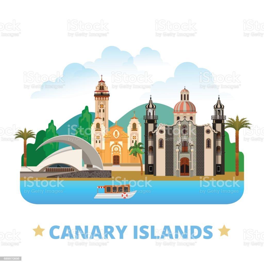 Canary Islands flat cartoon style historic sight web site vector illustration. World vacation travel Africa African collection. Iglesia de la Concepcion Basilica Candelaria Auditorio de Tenerife. vector art illustration