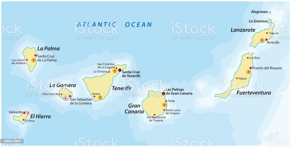 Spanien Lanzarote Karta.Kanarieoarna Karta Vektorgrafik Och Fler Bilder Pa Atlanten Istock