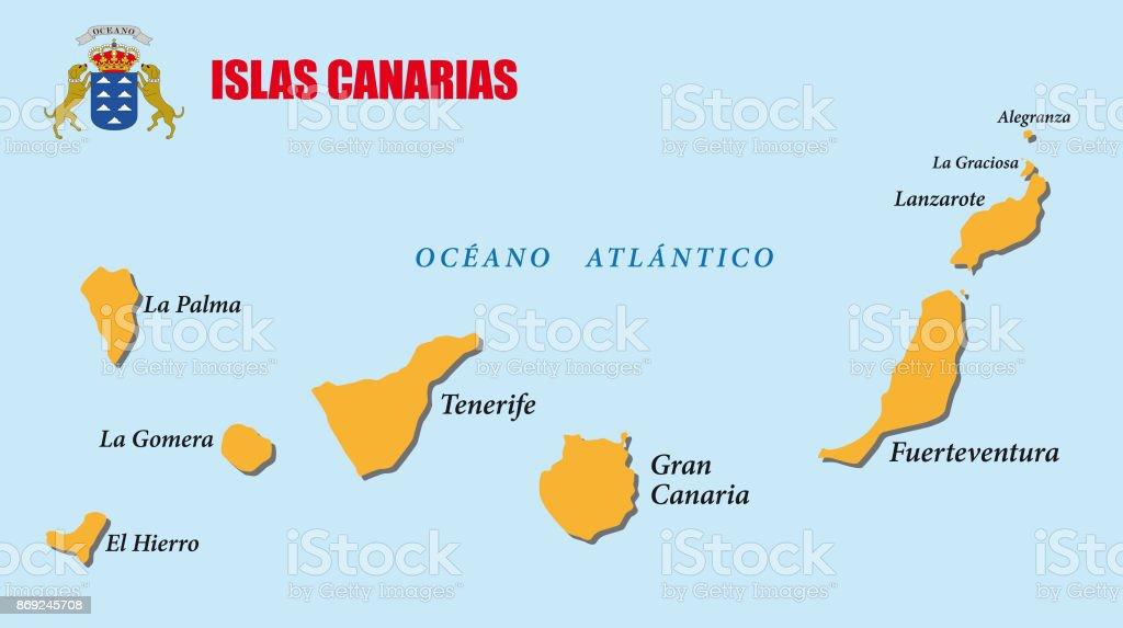 Kanaren Inseln Karte.Karte Der Kanarischen Inseln Mit Wappen Stock Vektor Art Und