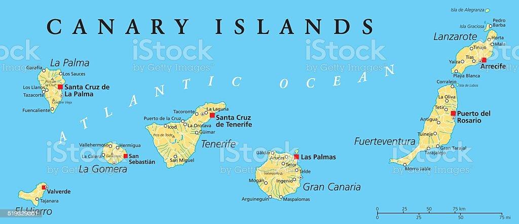 Kanaren Inseln Karte.Kanarische Inseln Politische Karte Stock Vektor Art Und Mehr
