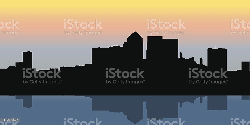 Canary Wharf, London Silhouette royalty-free stock vector art