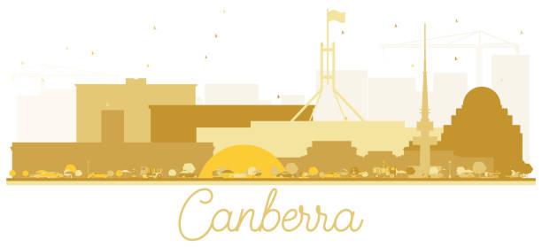 bildbanksillustrationer, clip art samt tecknat material och ikoner med canberra australien stadssilhuetten gyllene siluett. - canberra skyline