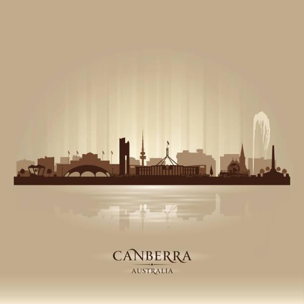 bildbanksillustrationer, clip art samt tecknat material och ikoner med canberra australien city skyline silhouette - canberra skyline