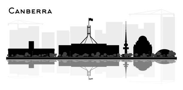 bildbanksillustrationer, clip art samt tecknat material och ikoner med canberra australien city skyline siluett med svart byggnader och reflektioner isolerade på vitt. - canberra skyline