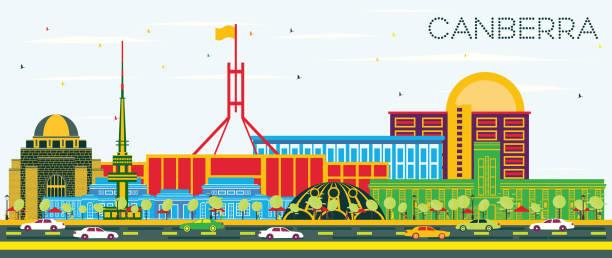 bildbanksillustrationer, clip art samt tecknat material och ikoner med canberra australien stadssilhuetten med färg byggnader och blå himmel. - canberra skyline