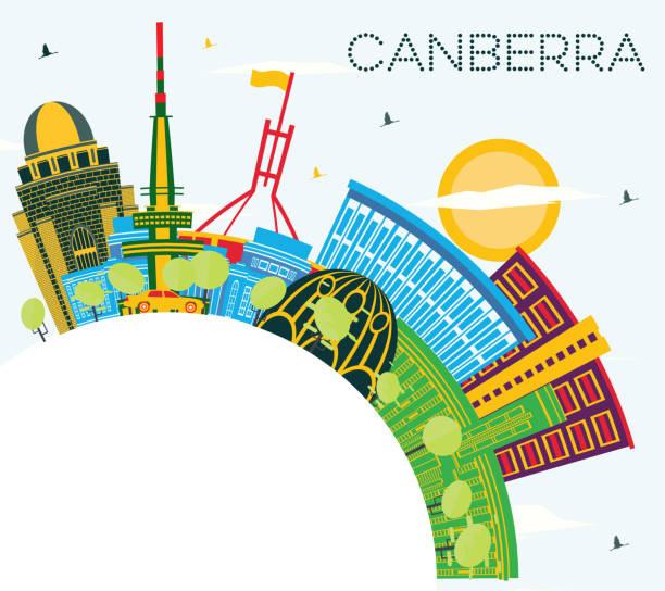 bildbanksillustrationer, clip art samt tecknat material och ikoner med canberra australia city skyline med färgbyggnader, blue sky och copy space. - canberra skyline