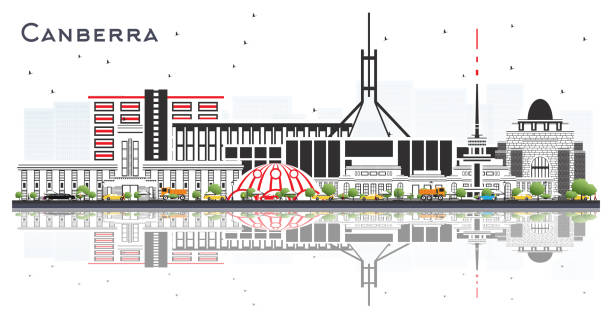 bildbanksillustrationer, clip art samt tecknat material och ikoner med canberra australia city skyline med gråa byggnader och reflektioner isolerade på vitt. - canberra skyline