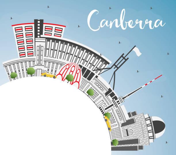 bildbanksillustrationer, clip art samt tecknat material och ikoner med canberra australien stadssilhuetten med grå byggnader, blå himmel och kopia utrymme. - canberra skyline
