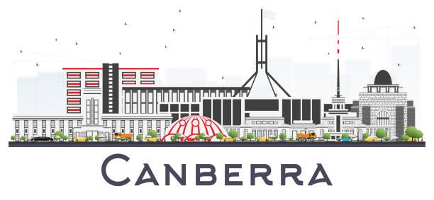 bildbanksillustrationer, clip art samt tecknat material och ikoner med canberra australien stadssilhuetten med grå byggnader isoleras på vitt. - canberra skyline