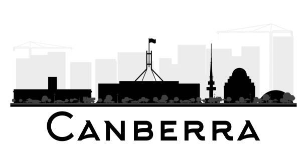 bildbanksillustrationer, clip art samt tecknat material och ikoner med canberra-city skyline svartvit siluett. - canberra skyline