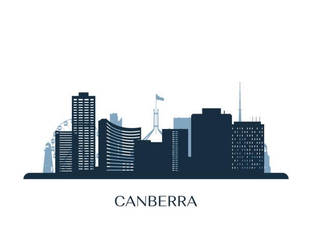 bildbanksillustrationer, clip art samt tecknat material och ikoner med canberra skyline, svartvit silhuett. vektor illustration. - canberra skyline
