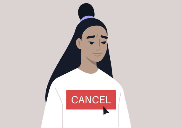 Cancel culture concept, a young female Asian character being cancelled by online users Cancel culture concept, a young female Asian character being cancelled by online users facebook boycott stock illustrations