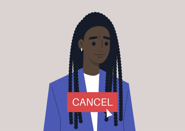 Cancel culture concept, a young female Black character being cancelled by online users Cancel culture concept, a young female Black character being cancelled by online users facebook boycott stock illustrations