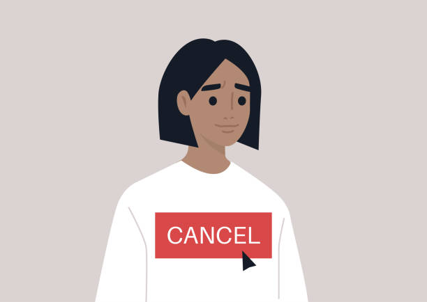 Cancel culture concept, a young female character being cancelled by online users Cancel culture concept, a young female character being cancelled by online users facebook boycott stock illustrations