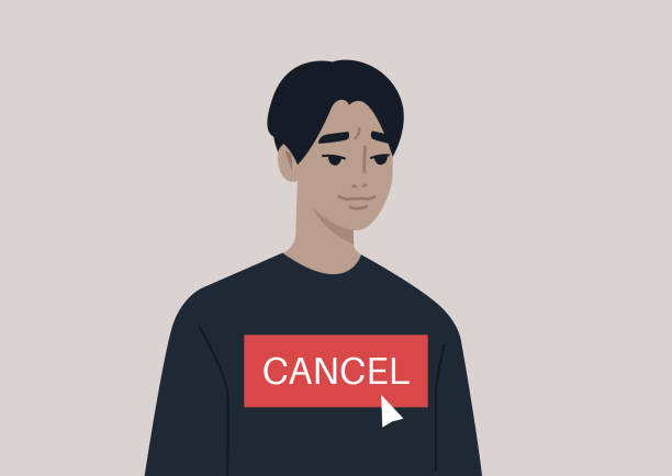 Cancel culture concept, a young male Asian character being cancelled by online users Cancel culture concept, a young male Asian character being cancelled by online users facebook boycott stock illustrations