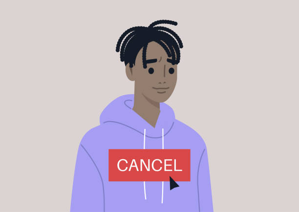 Cancel culture concept, a young male Black character being cancelled by online users Cancel culture concept, a young male Black character being cancelled by online users facebook boycott stock illustrations