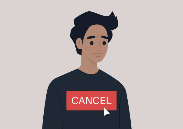 Cancel culture concept, a young male character being cancelled by online users Cancel culture concept, a young male character being cancelled by online users facebook boycott stock illustrations