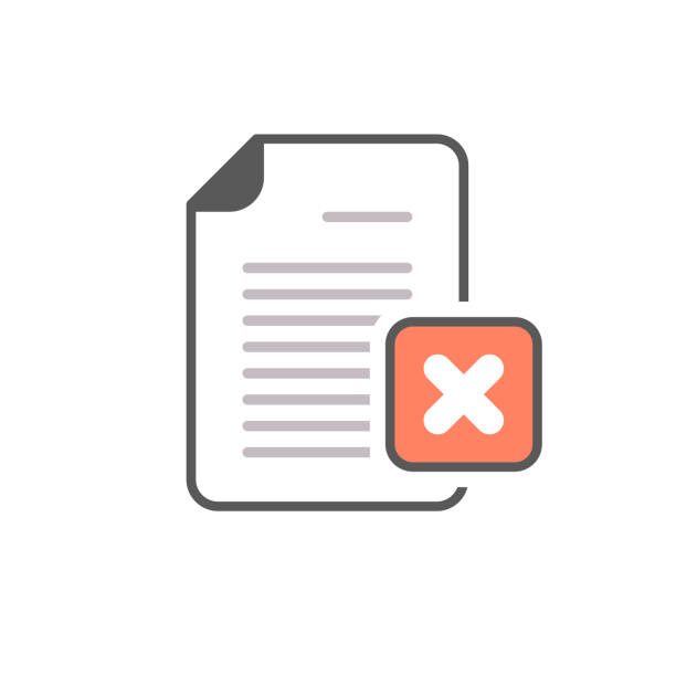 Cancel document file page restricted x icon vector art illustration