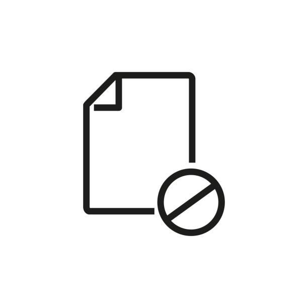 storniertes dokumentzeilensymbol - hypotheken kündigung stock-grafiken, -clipart, -cartoons und -symbole