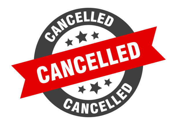 cancelled sign. cancelled black-red round ribbon sticker vector art illustration