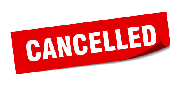 cancelled sticker. cancelled square isolated sign. cancelled vector art illustration