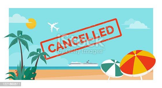 istock Cancelled vacation and flight due to coronavirus 1221860511