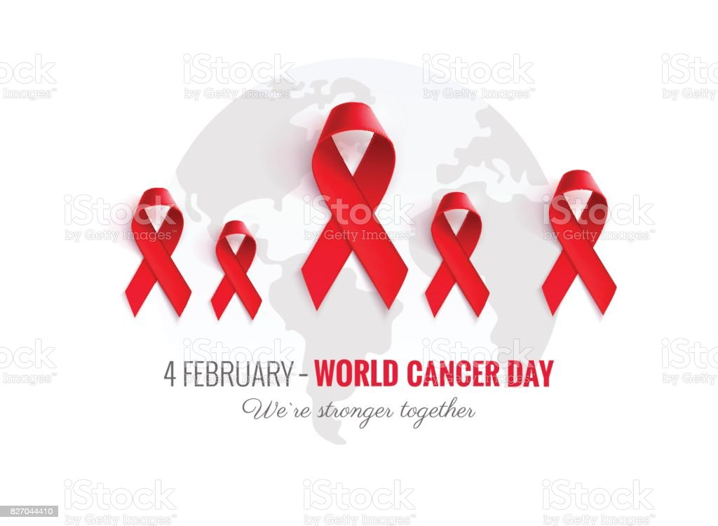 Cancer Awareness Red Ribbon Background. vector art illustration