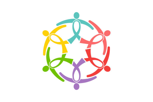cancer awareness ribbon people group. people like ribbons in a circle holding together to support. vector logo design - пищевая цепь stock illustrations