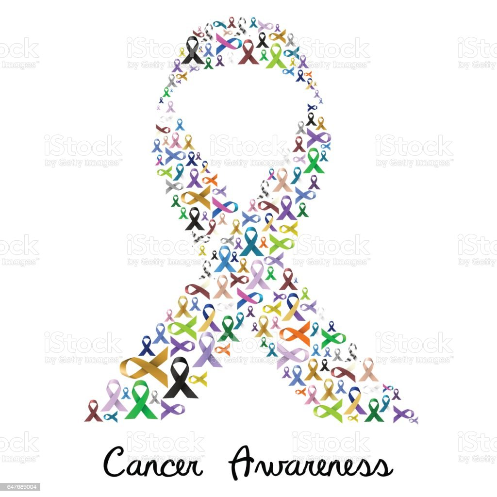 cancer awareness various color and shiny ribbons for help like a big colorful ribbon eps10 vector art illustration