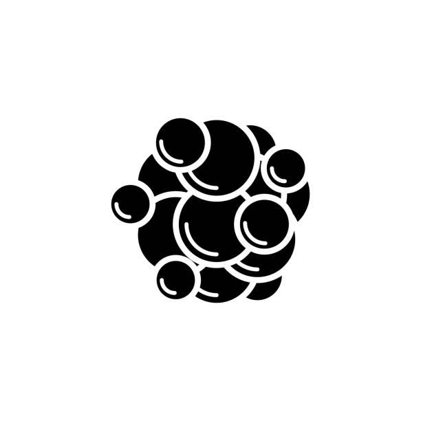 ilustraciones, imágenes clip art, dibujos animados e iconos de stock de el icono de célula cancerosa - oncología