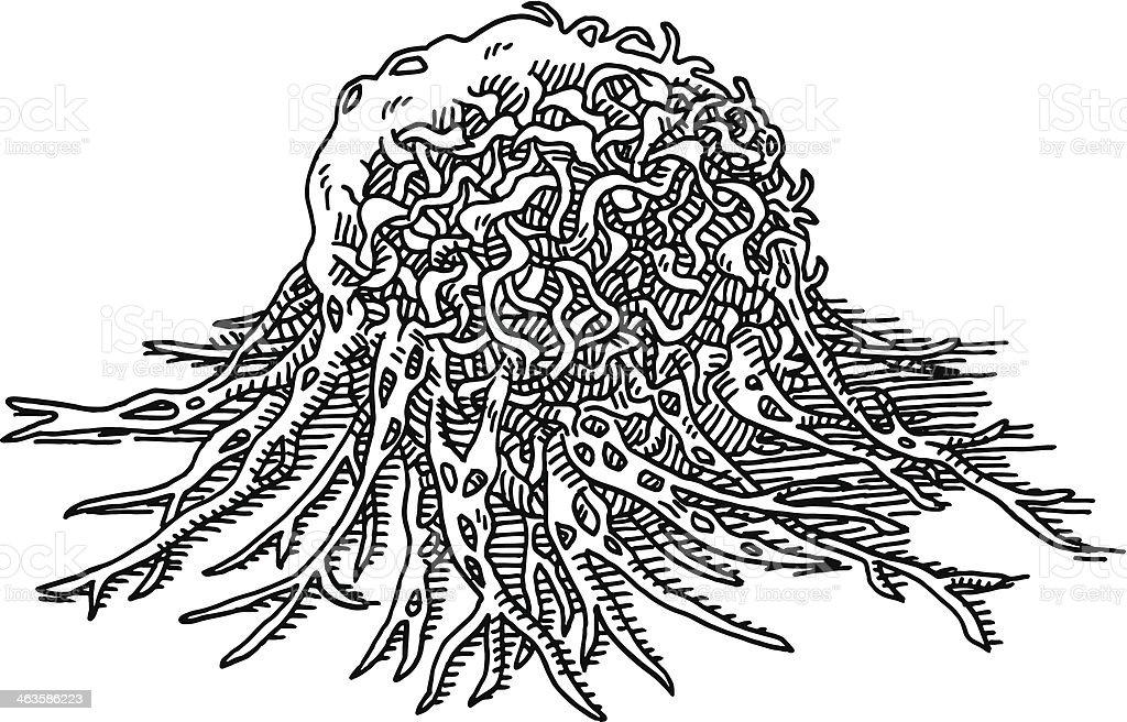 Cancer Cell Tumor Macro Drawing vector art illustration