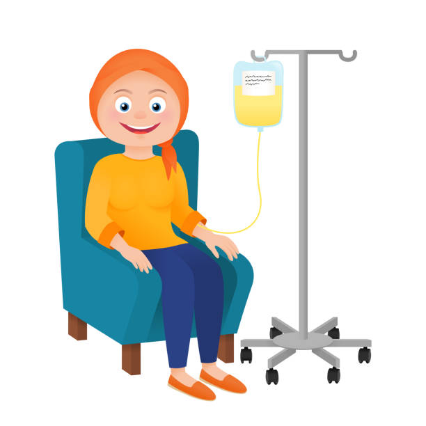 Cancer chemotherapy oncology patient Woman patient with cancer. Chemotherapy and oncology disease concept. Cartoon vector chemotherapy cancer stock illustrations