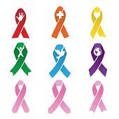 Cancer Folded Ribbons with Different Icons in the Middle