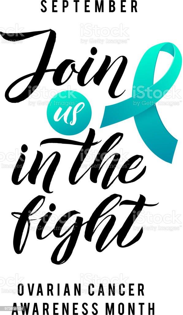 Esperanza de cáncer. Etiqueta de conciencia del cáncer de ovario. Tamplate de vector con la cinta del Teal - símbolo de la lucha del cáncer - arte vectorial de Alerta libre de derechos
