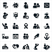 Icons related to the screening, treatment, cancer support and cancer in general. The icons include cancers such as brain cancer, breast cancer, skin cancer, medications, treatment, diagnosis, radiation, awareness, and cancer support to name just a few.